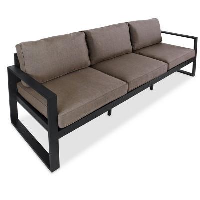 baltic metal patio sofa black real flame