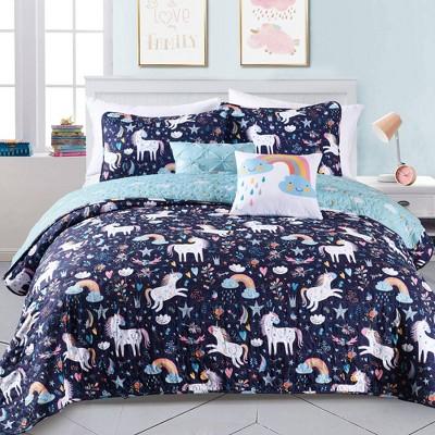 4pc twin unicorn heart bedding set with unicorn throw pillow navy lush decor