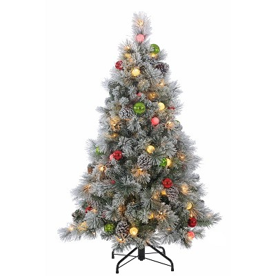 45ft Pre Lit LED Artificial Christmas Tree Slim Flocked