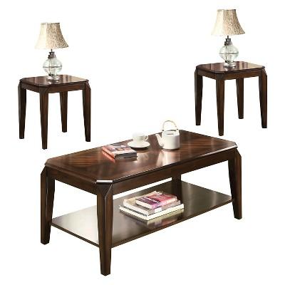 3pc docila pack coffee end table set walnut acme furniture