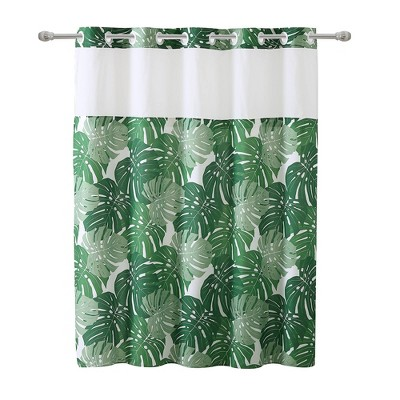 palm leaf shower curtain with peva liner green hookless
