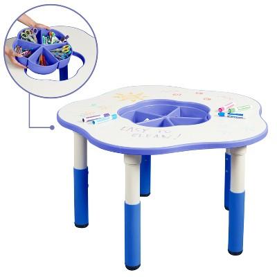 ecr4kids flower resin dry erase adjustable activity table with removable storage bin blue