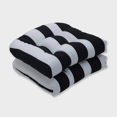 2pk cabana stripe wicker outdoor seat cushions black pillow perfect