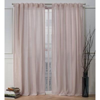 84 x54 faux linen slub back tab light filtering window curtain panels blush pink nicole miller