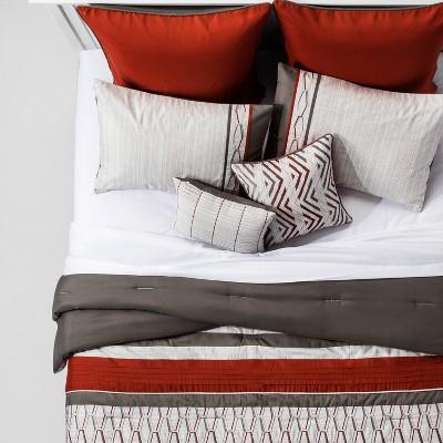 red gray brecken geo embroidered comforter set full queen 8pc