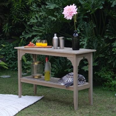 auburn teak patio buffet console table gray cambridge casual