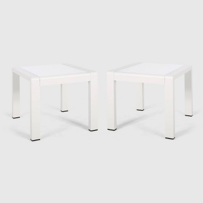 cape coral 2pk aluminum patio side table white christopher knight home