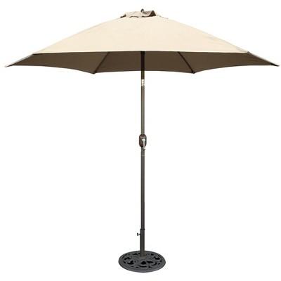 9 round crank patio umbrella beige