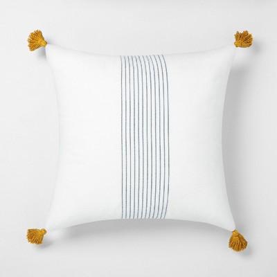 22 x 22 center stripes tassel throw pillow sour cream blue hearth hand with magnolia