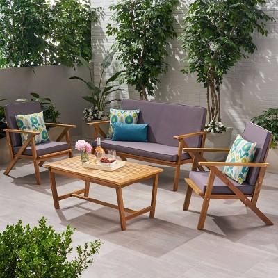 panama 4pc acacia wood patio chair set teak finish christopher knight home