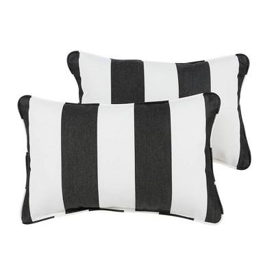 sunbrella 2pk cabana classic lumbar outdoor throw pillows black white