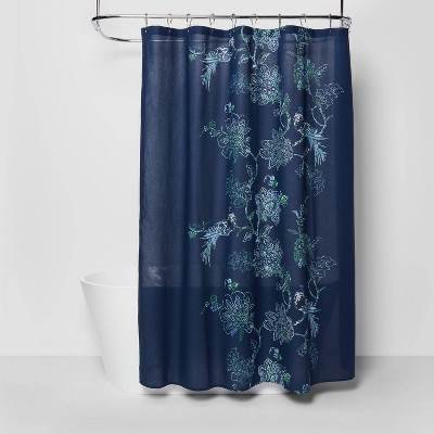 placement floral shower curtain navy blue threshold