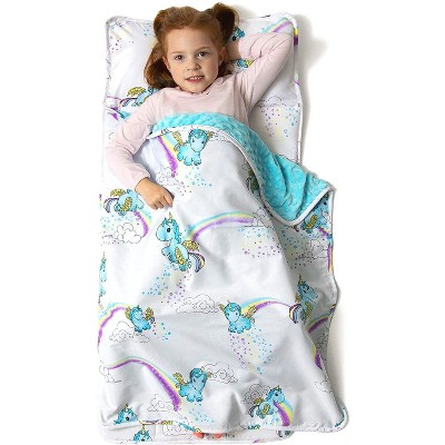 jumpoff jo toddler nap mat children s sleeping bag with removable pillow for preschool daycare and sleepovers 43 x 21 inches unicorn pixie dust