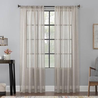 63 x52 celeste textured linen blend sheer rod pocket curtain panel brown scott living