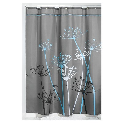 floral shower curtain gray blue idesign