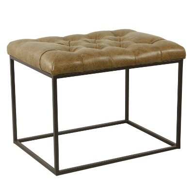 small decorative ottoman faux leather brown homepop