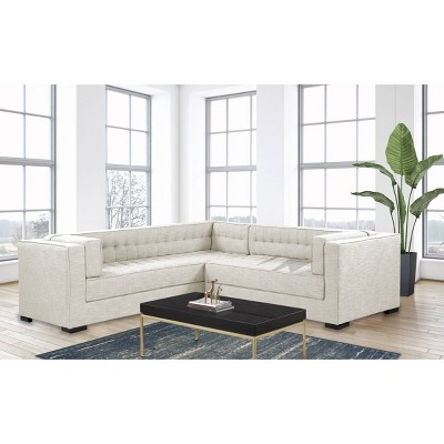 jasper right facing sectional sofa ecru chic home design