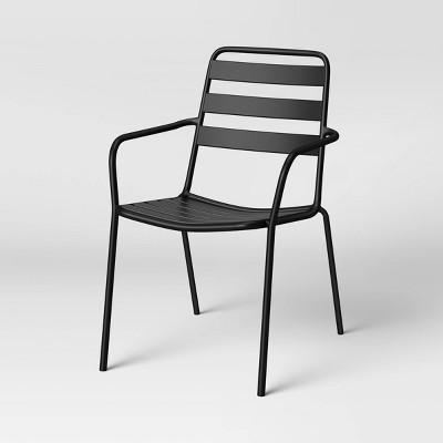 metal slat stacking patio chair black room essentials