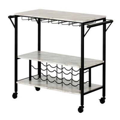 maliza bar cart with wine bottle storage and wine glass rack black south shore
