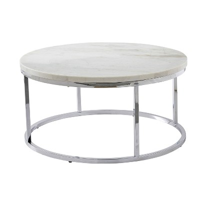 echo round cocktail table white steve silver co