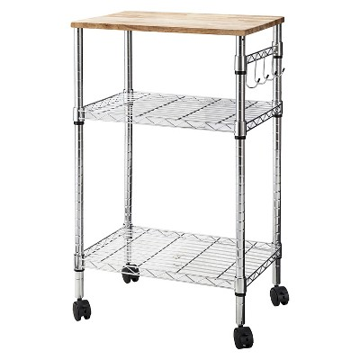 microwave cart with wood block top metal chrome room essentials
