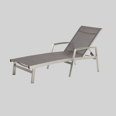 oxton aluminum outdoor mesh patio chaise lounge gray christopher knight home