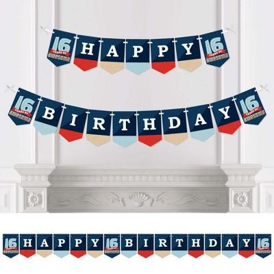 Big Dot Of Happiness Boy 16th Birthday Sweet Sixteen Birthday Party Bunting Banner Birthday Party Decorations Happy Birthday Target