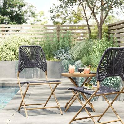 fisher folding patio set gold