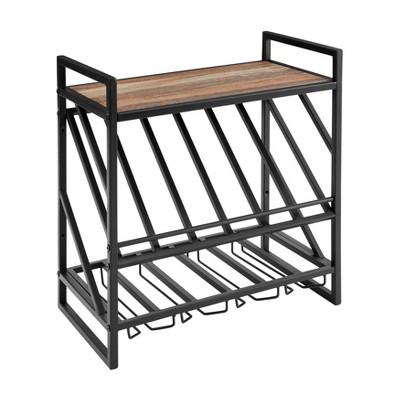 21 6 x 20 4 wall mount wine rack with shelf metal and rustic wood black danya b