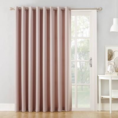 84 x100 seymour grommet top sliding patio door room darkening curtain panel blush sun zero