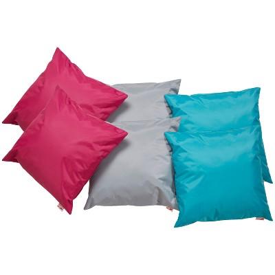 ecr4kids 17 indoor outdoor floor pillow set classroom pillows assorted colors 6 piece