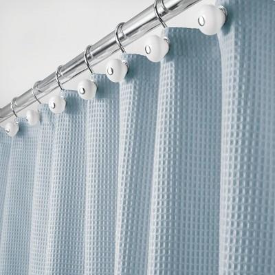 mdesign waffle weave fabric shower curtain 72 long light blue