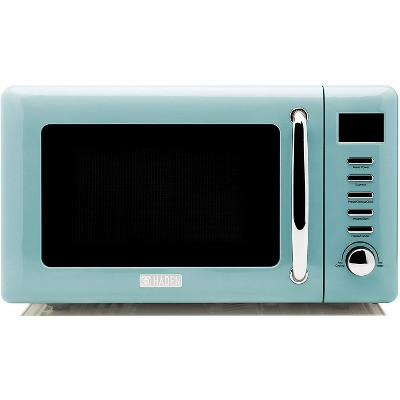 haden 75031 heritage vintage retro 0 7 cubic foot 20 liter 700 watt countertop microwave oven kitchen appliance with turntable turquoise blue