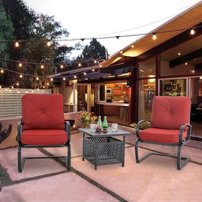 3pc patio bistro set with square umbrella table red captiva designs