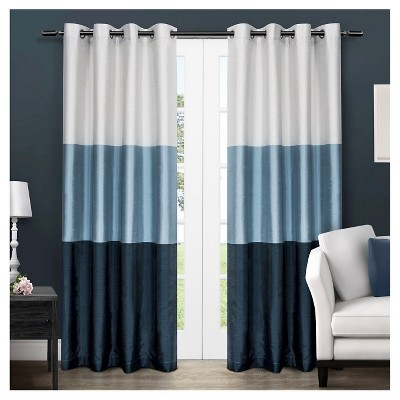 set of 2 108 x54 chateau striped faux silk grommet top window curtain panel indigo exclusive home