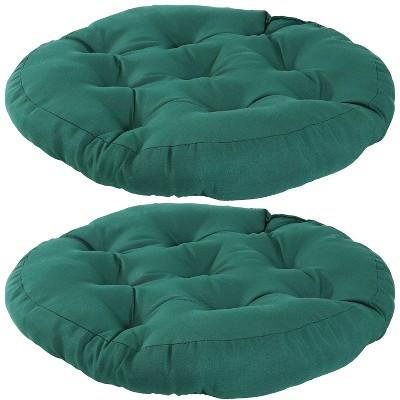 2pk dark green olefin tufted large round floor cushion sunnydaze decor