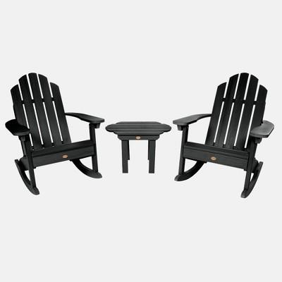 3pc classic westport adirondack rocking chair patio set black highwood