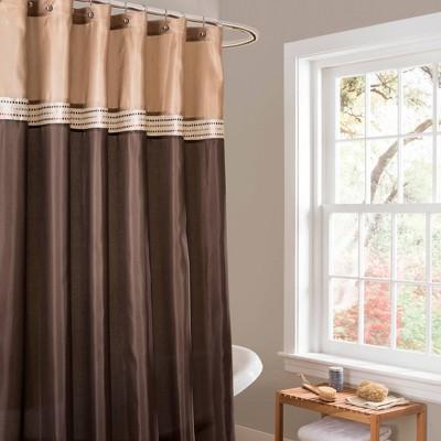 terra shower curtain beige brown lush decor