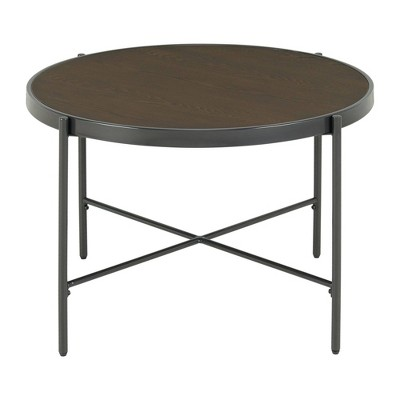 carlo round coffee table with wooden top brown picket house furnishings