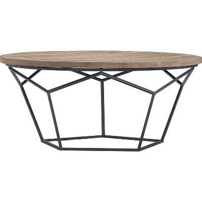 avion round geometric wood and metal coffee table wood finch