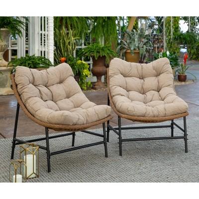 papasan scoop outdoor patio chair set of 2 natural saracina home