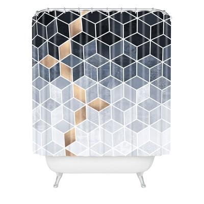 elisabeth fredriksson soft blue gradient cubes shower curtain black deny designs