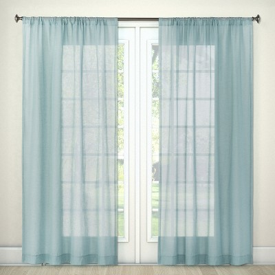 84 x54 sheer curtain panel blue threshold