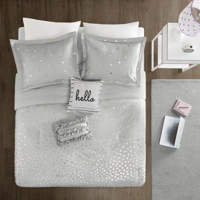 5pc full queen nova metallic comforter set gray silver
