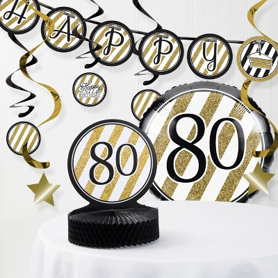 80th Birthday Party Decorations Kit Black Gold Target