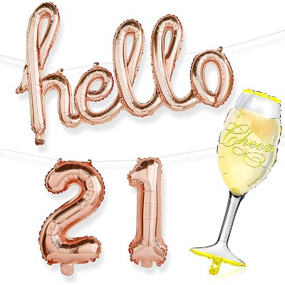 Sparkle And Bash 21st Birthday Party Decorations With Hello 21 Champagne Glass Foil Balloons Rose Gold Target