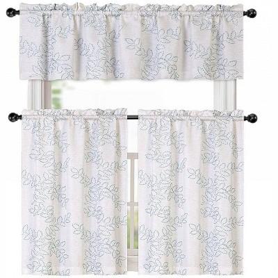 kate aurora brielle embroidered linen kitchen curtain tier valance set 56 in w x 15 in l aqua