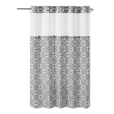 vervain medallion shower curtain with liner black hookless