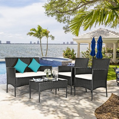 costway 4pcs patio rattan furniture set cushioned sofa coffee table backyard porch