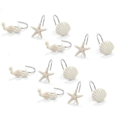 shower curtain hooks 12 piece decorative rust proof bathroom curtain rings hangers with ocean themed seahorse seashell starfish designs white